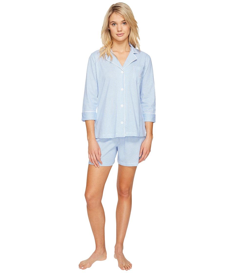 LAUREN Ralph Lauren - 3/4 Sleeve Notch Collar Short Set (Blue Gingham) Women's Pajama Sets