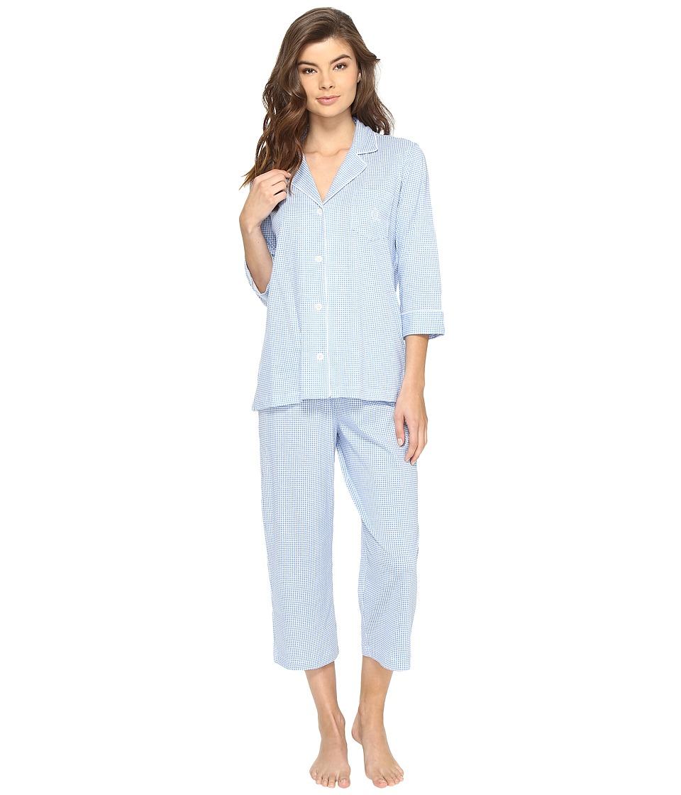 LAUREN Ralph Lauren - Classic Knit 3/4 Sleeve Capri Pajama (Blue Gingham) Women's Pajama Sets