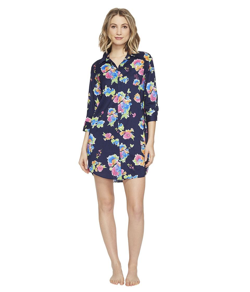 LAUREN Ralph Lauren - Cotton Rayon Lawn 3/4 Sleeve Sleepshirt (Spring Navy Floral) Women's Pajama