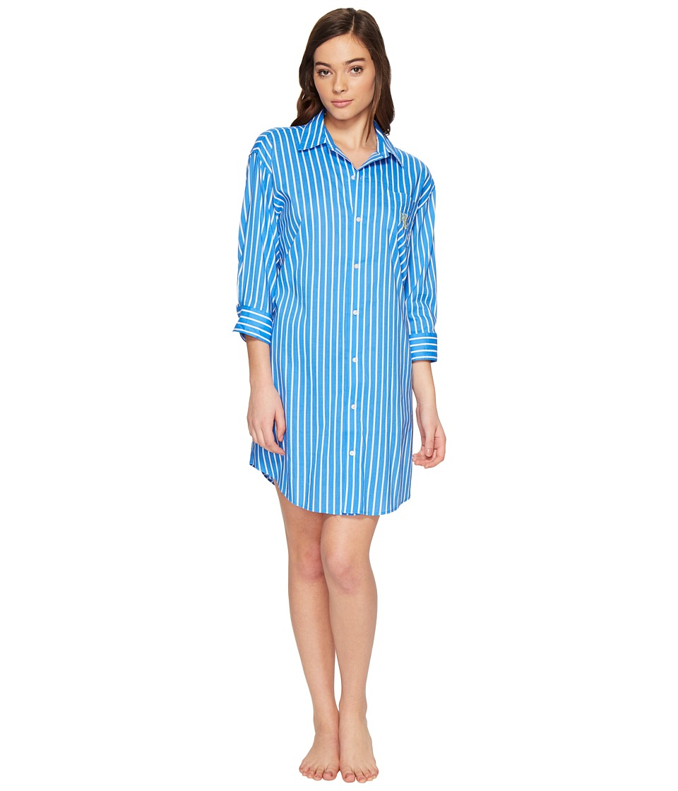 LAUREN Ralph Lauren - Cotton Rayon Lawn 3/4 Sleeve Sleepshirt (Cobalt Blue Stripe) Women's Pajama