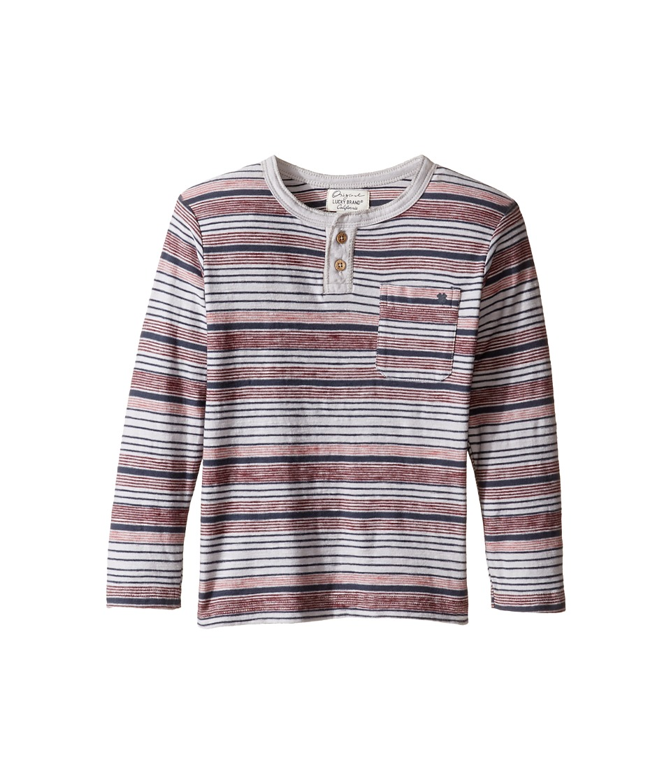Lucky Brand Kids - Striped Henley Shirt with Chest Pocket (Toddler) (Microchip) Boy's Clothing