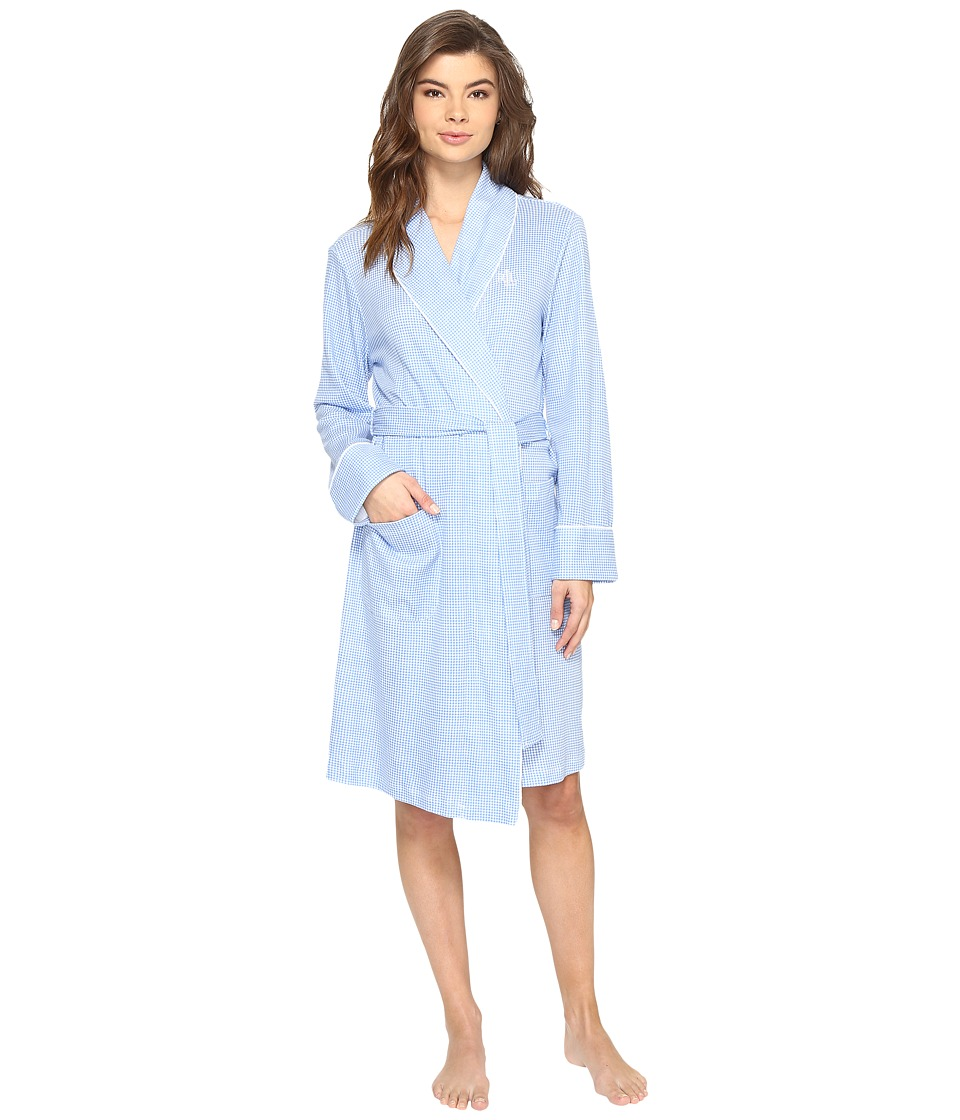 LAUREN Ralph Lauren - Interlock Shawl Collar Robe (Blue Gingham) Women's Robe