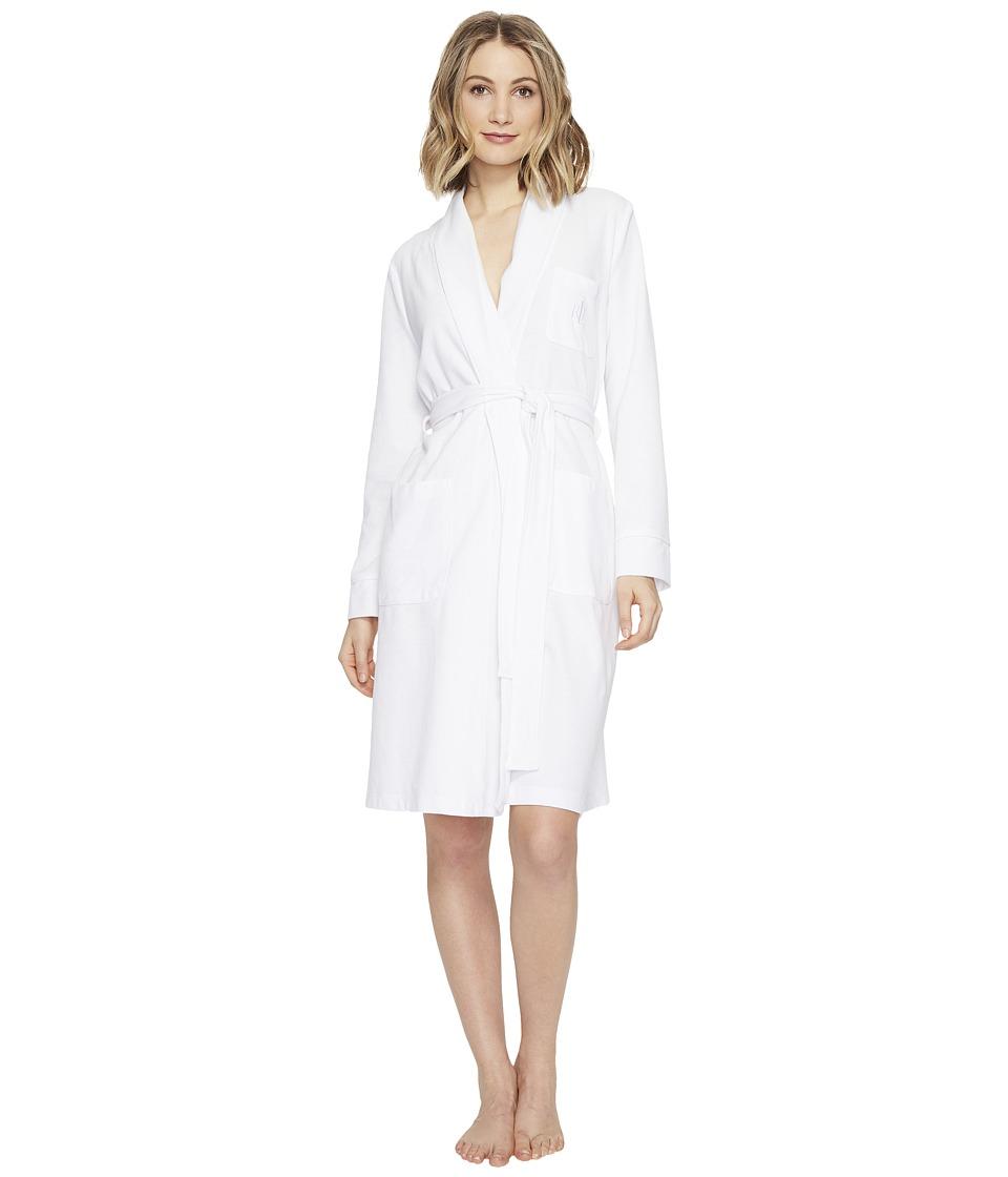 LAUREN Ralph Lauren - Lounge Pique Short Robe (White) Women's Robe
