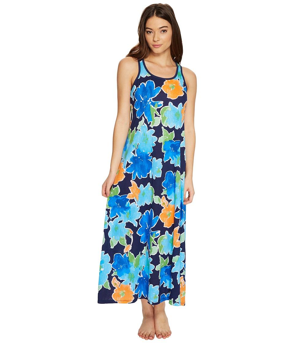 LAUREN Ralph Lauren - Maxi Gown (Spring Navy Floral) Women's Pajama