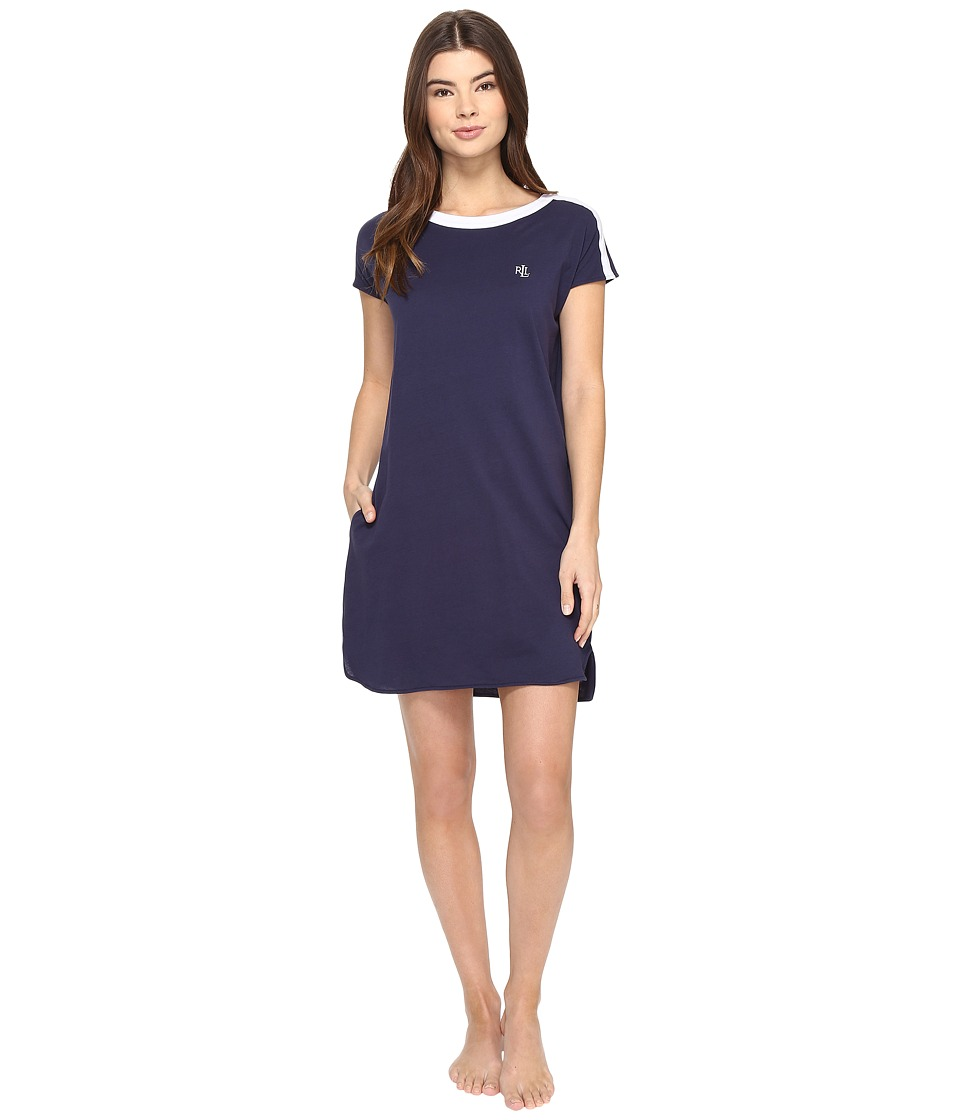 LAUREN Ralph Lauren - Pima Cotton Sleep Tee (Spring Navy) Women's Pajama