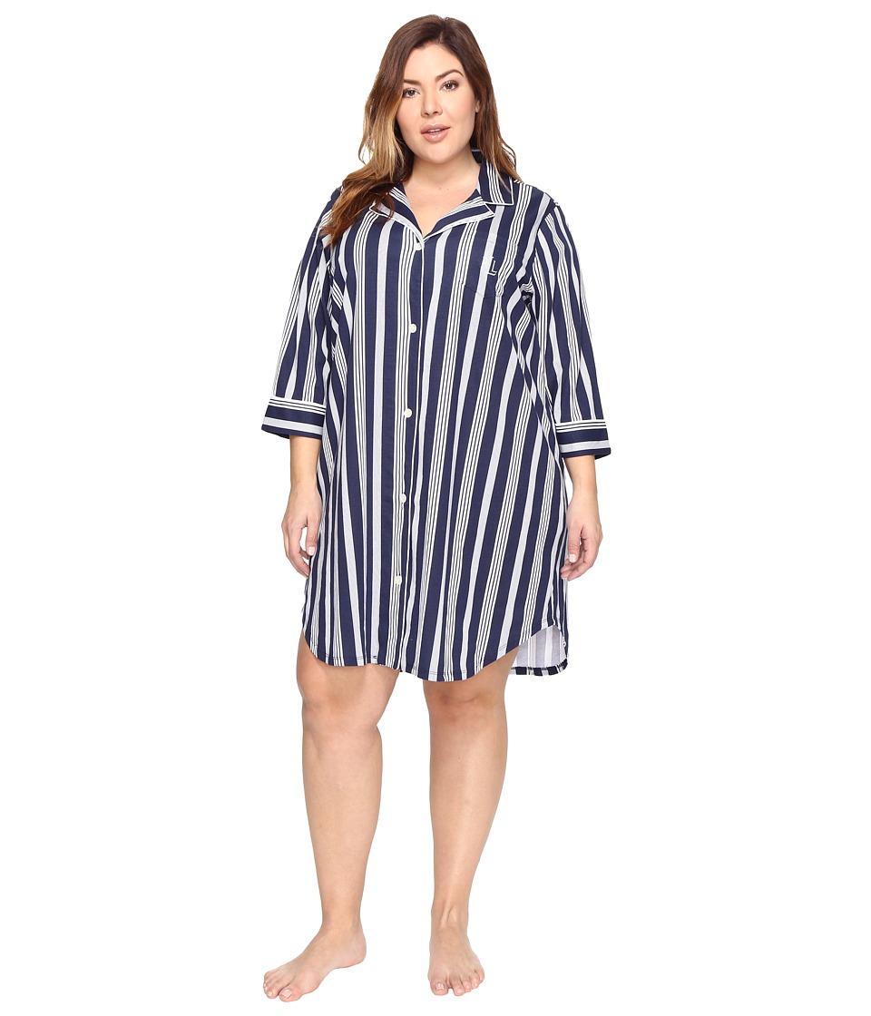 LAUREN Ralph Lauren - Plus Size Classic Knit Sleepshirt (Spring Navy Stripe) Women's Pajama