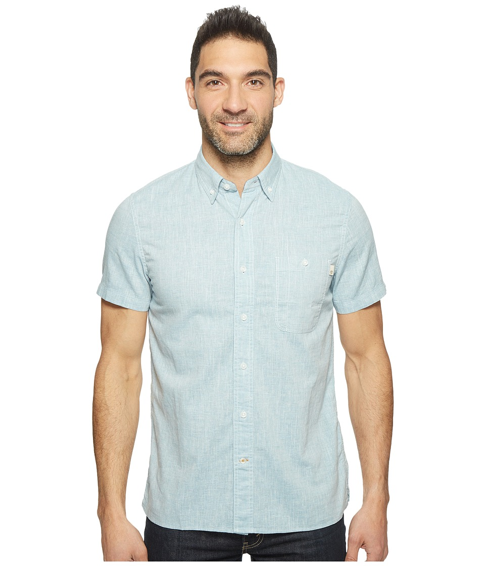 Timberland - Short Sleeve Mill River Cotton/Linen Chambray Shirt (Stone Blue Yarn-Dye) Men's Clothing