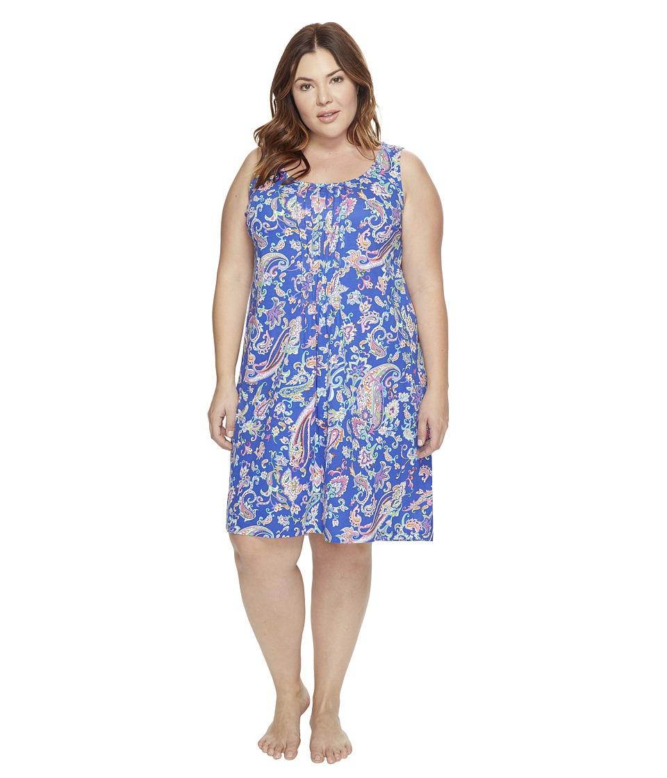 LAUREN Ralph Lauren - Plus Size Knit Short Gown (Royal Blue Paisley) Women's Pajama
