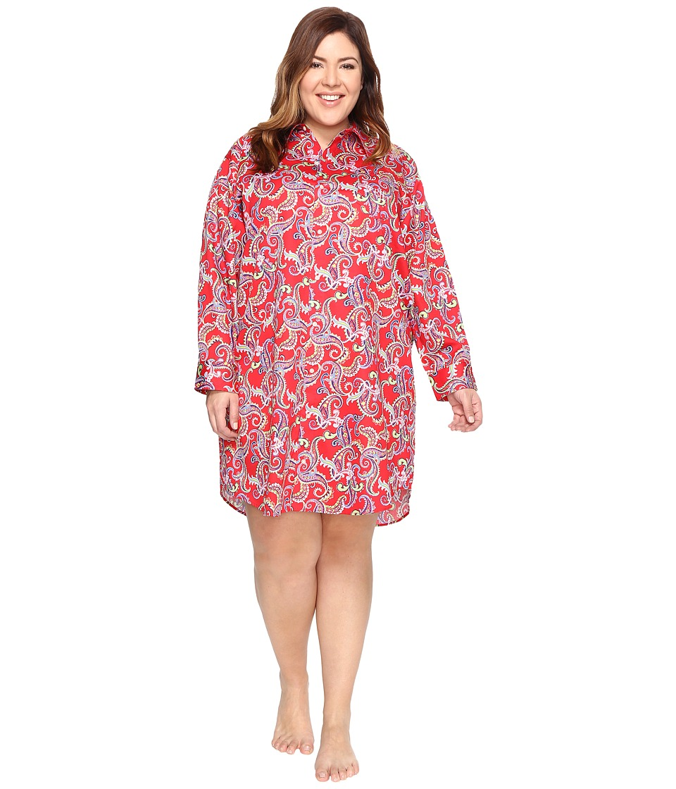 LAUREN Ralph Lauren - Plus Size Sateen Sleepshirt (Red Paisley) Women's Pajama