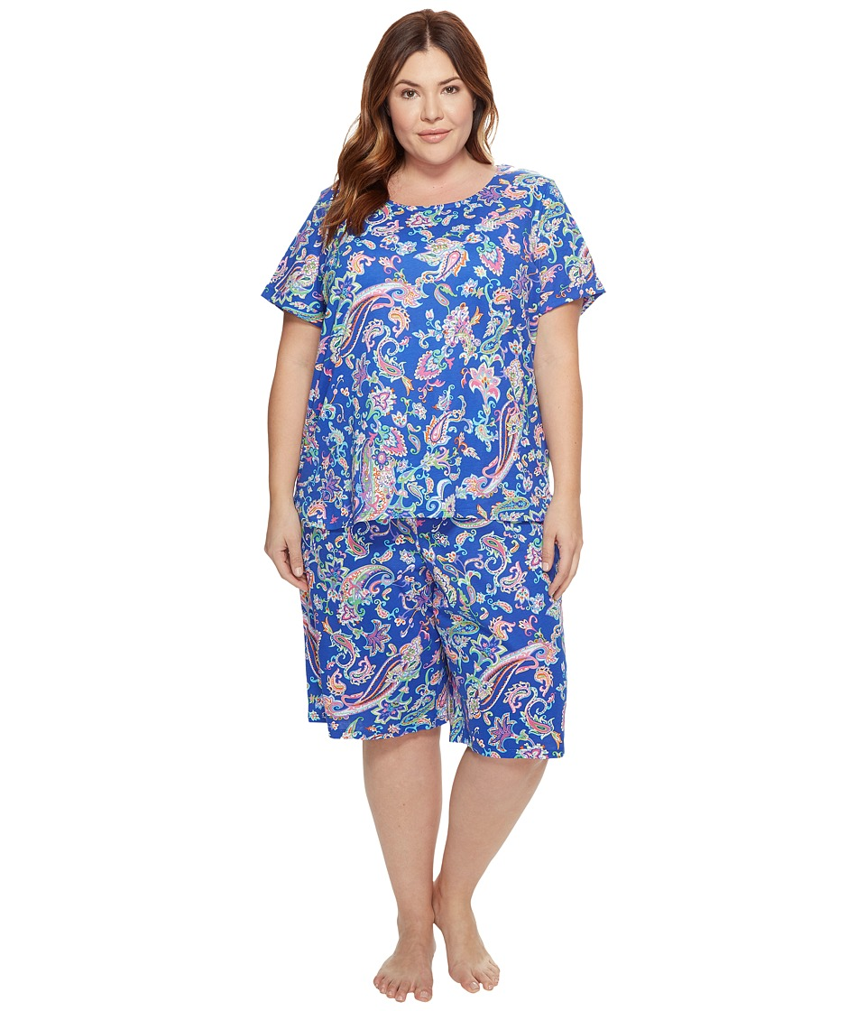 LAUREN Ralph Lauren - Plus Size Short Sleeve Bermuda PJ Set (Royal Blue Paisley) Women's Pajama Sets