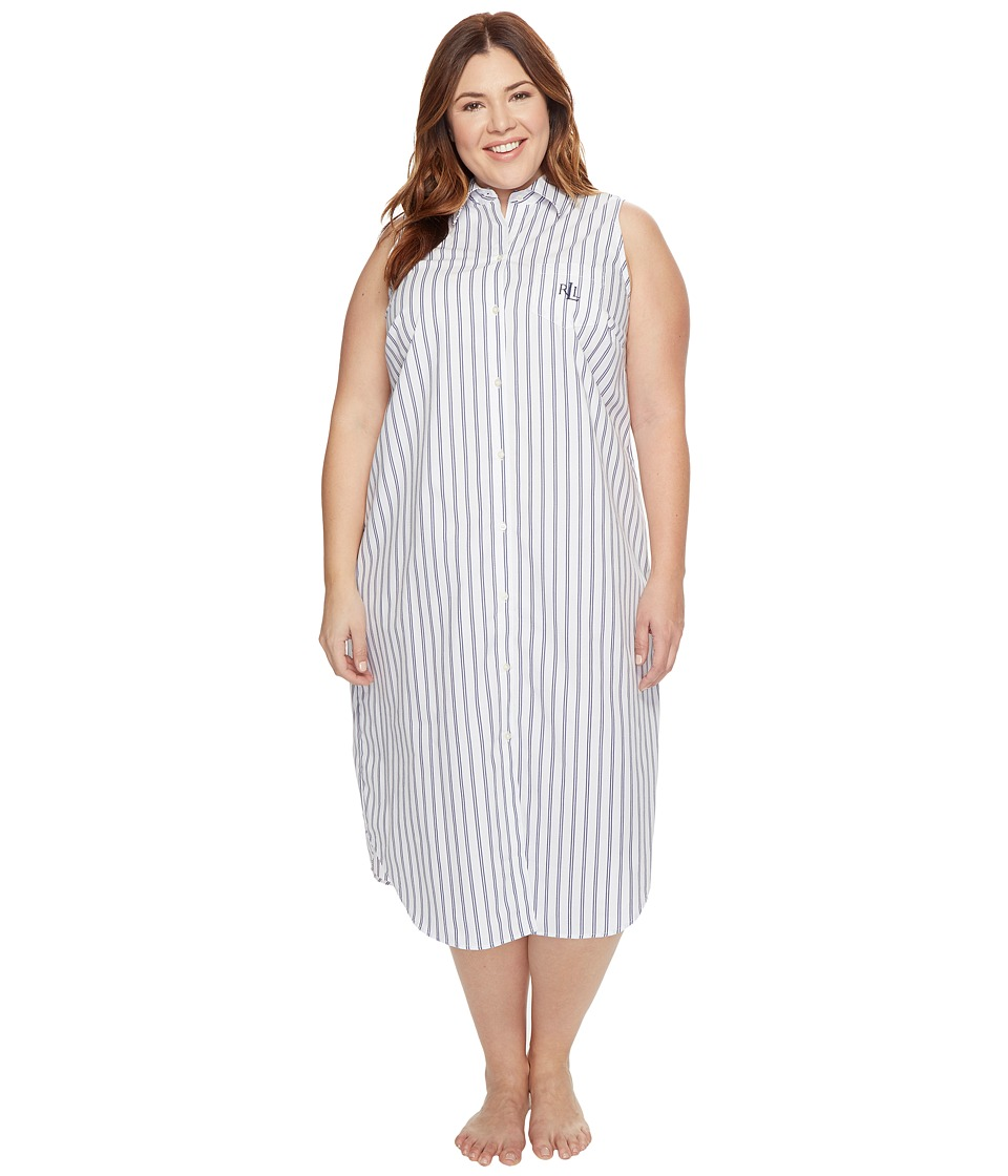 LAUREN Ralph Lauren - Plus Size Sleeveless Cotton Poplin Ballet Gown (White Ground/Navy Stripe) Women's Pajama