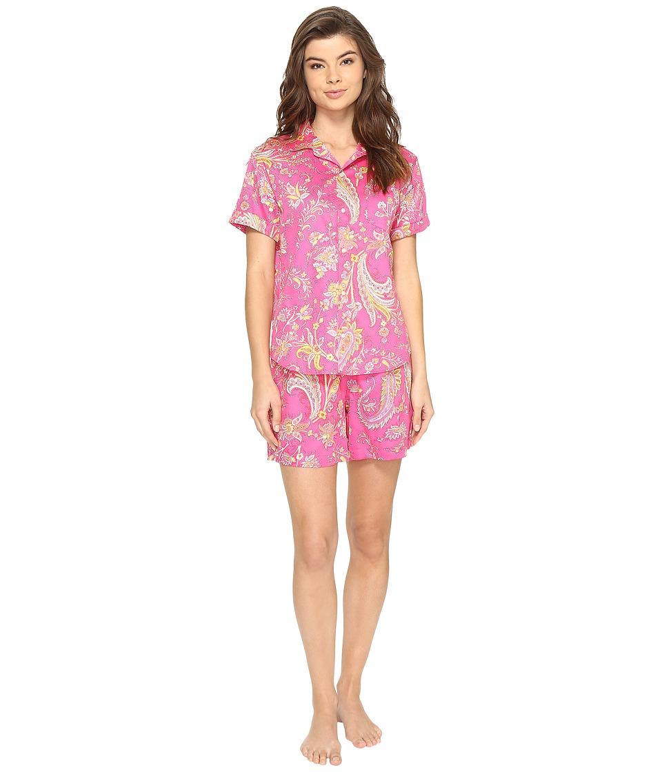 LAUREN Ralph Lauren - Sateen Short Sleeve Boxer Set (Pink Multi Paisley) Women's Pajama Sets
