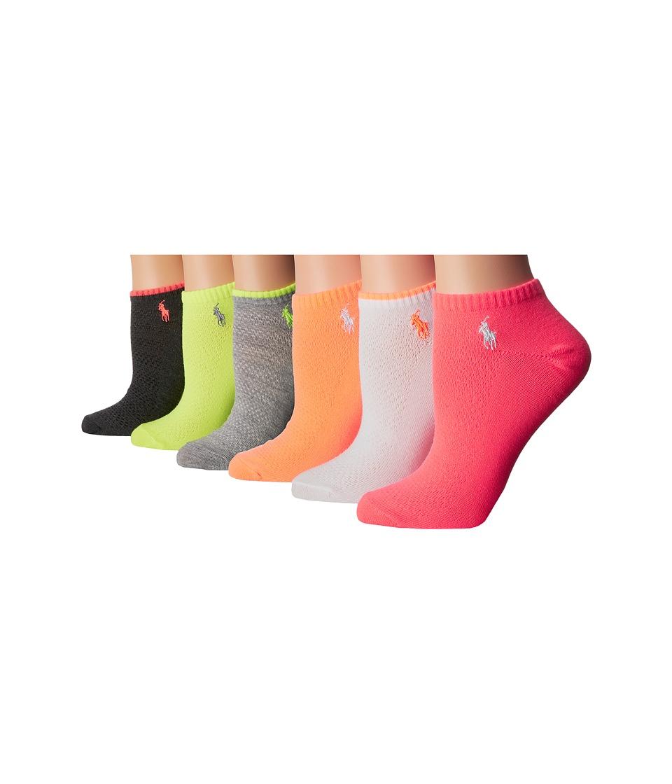 LAUREN Ralph Lauren - Contrast Tipping Flat Knit Low Cut 6-Pack w/ Mesh (Sweatshirt Grey Heather) Women's Low Cut Socks Shoes