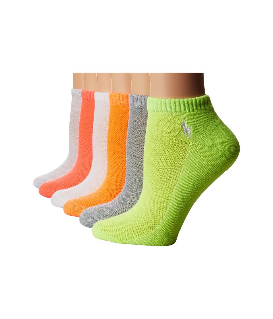 LAUREN Ralph Lauren - Cushion Sole Mesh Top Low Cut 6 Pack (Coral) Women's Low Cut Socks Shoes