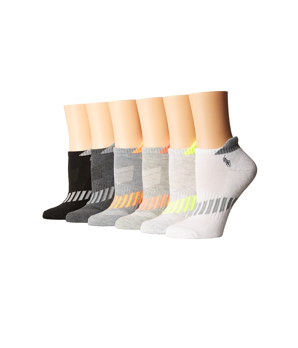 LAUREN Ralph Lauren - Vector Stripe Cushion Sole Heel Tab Low Cut 6-Pack (White/Grey) Women's Low Cut Socks Shoes