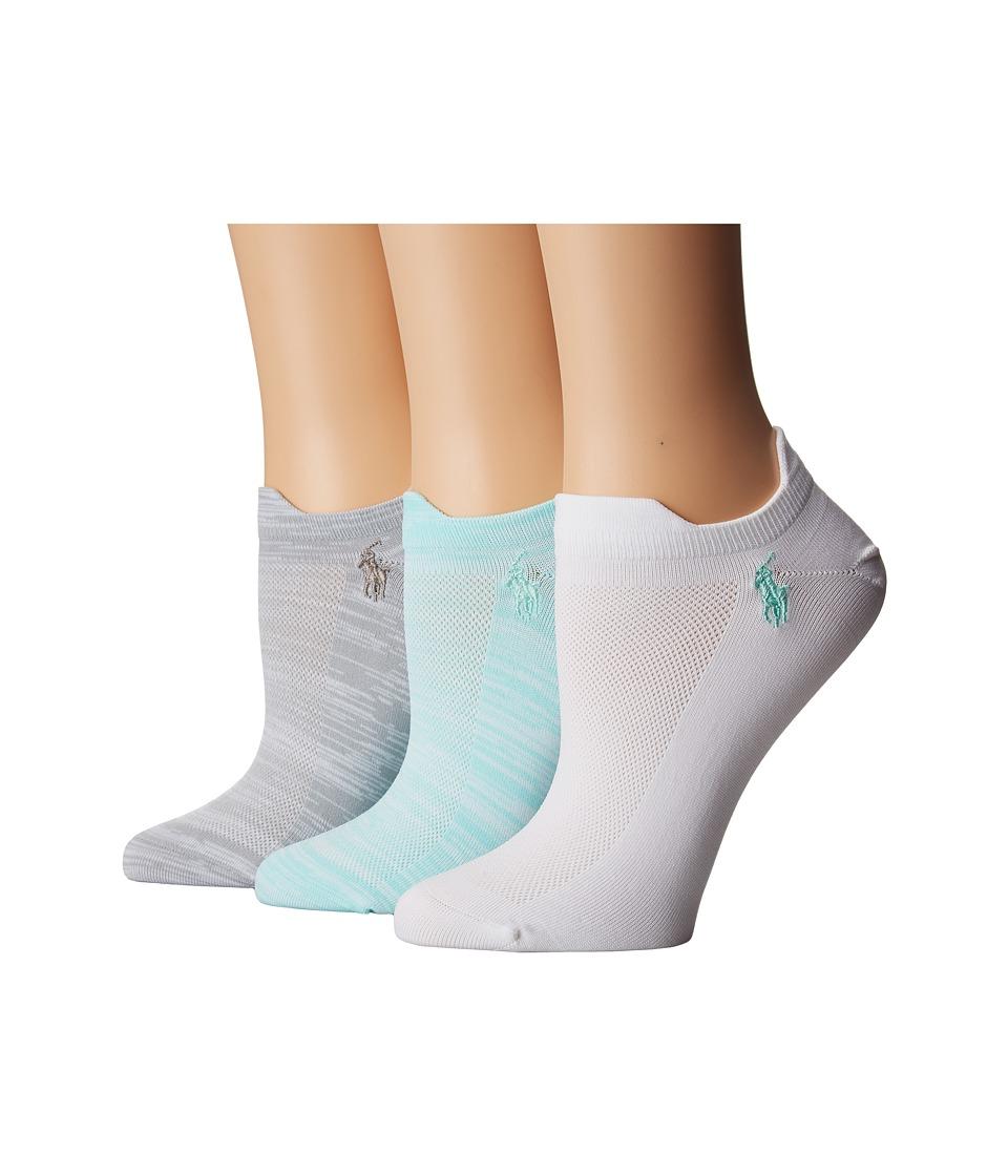 LAUREN Ralph Lauren - Marl Microfiber Double Tab Low Cut 3-Pack (Turquoise) Women's Low Cut Socks Shoes