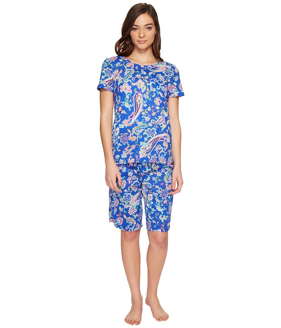 LAUREN Ralph Lauren - Short Sleeve Bermuda PJ Set (Royal Blue Paisley) Women's Pajama Sets