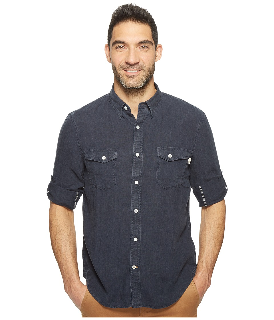 Timberland - Long Sleeve Mill River Linen Cargo Shirt (Dark Sapphire) Men's Clothing