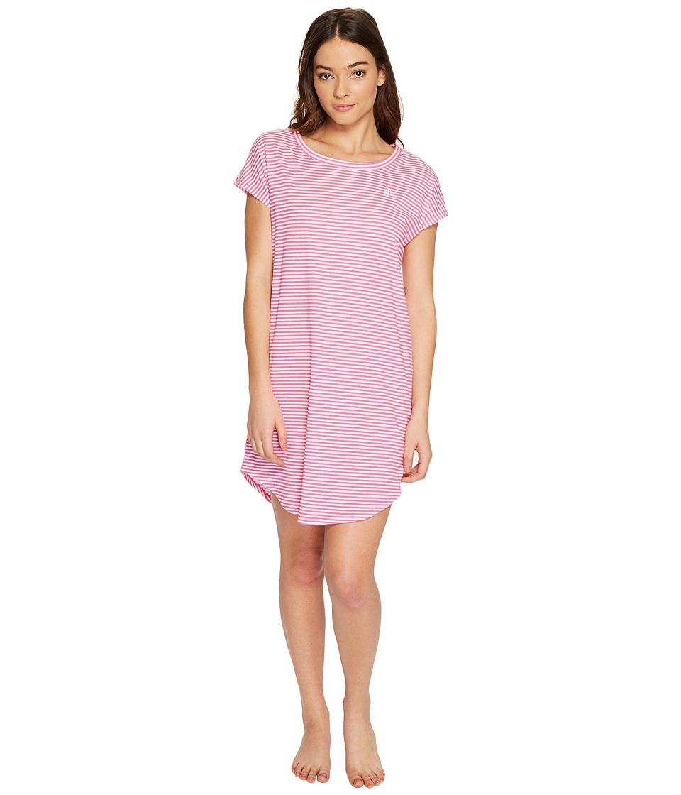 LAUREN Ralph Lauren - Short Sleeve Drop Shoulder Sleep Tee (Pink Stripe) Women's Pajama