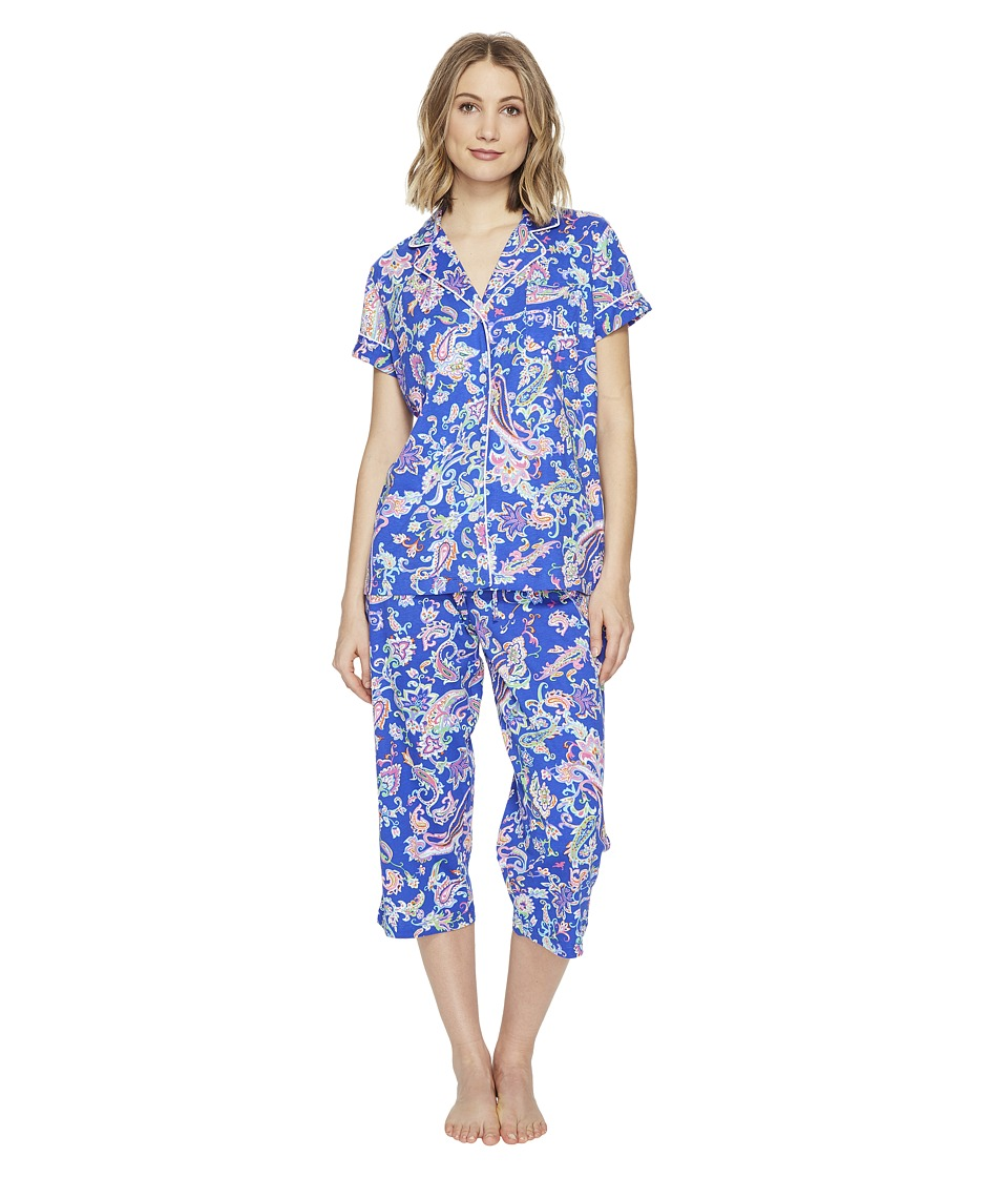 LAUREN Ralph Lauren - Short Sleeve Notch Collar Capri PJ (Royal Blue Paisley) Women's Pajama Sets