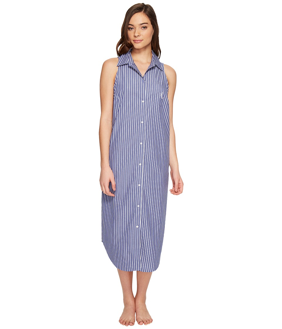 LAUREN Ralph Lauren - Sleeveless Cotton Poplin Ballet Gown (Navy Ground/White Stripe) Women's Pajama