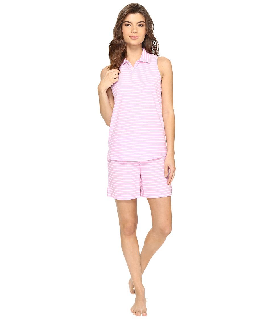 LAUREN Ralph Lauren - Sleeveless Henley Boxer PJ (Stripe Pink) Women's Pajama Sets