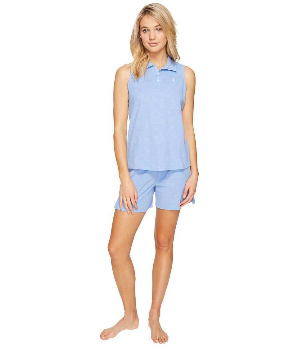 LAUREN Ralph Lauren - Sleeveless Henley Boxer PJ (Club Blue) Women's Pajama Sets