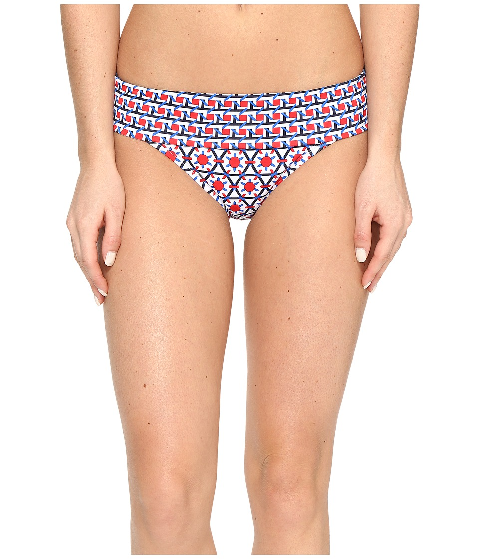 Tommy Bahama Geo Wide-Band Hipster Bikini Bottom (Poppy Red) Women