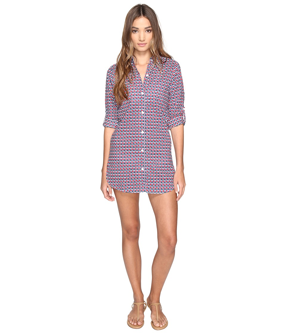 Tommy Bahama Geo Boyfriend Shirt Cover-Up Poppy Red Swimwear