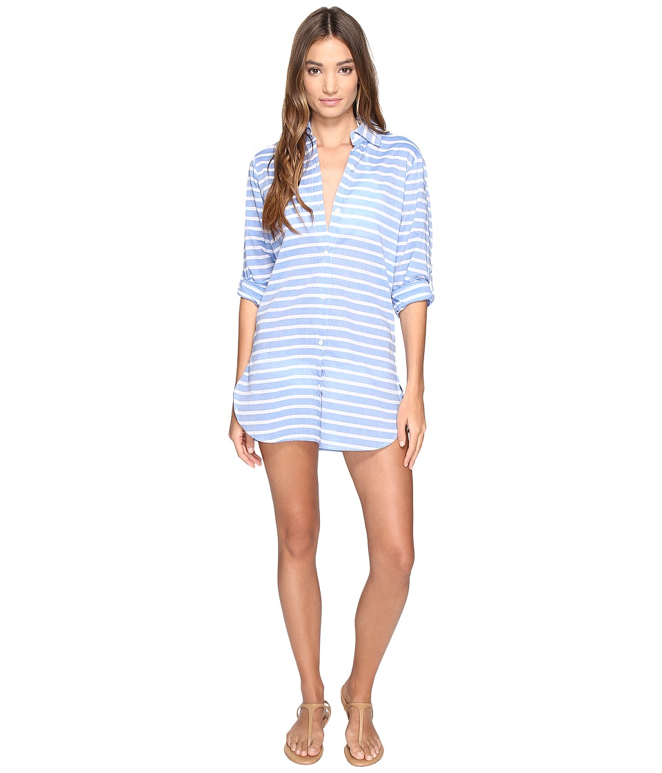 Tommy Bahama Breton Stripe Boyfriend Shirt Cover-Up (Vivid Blue) Women