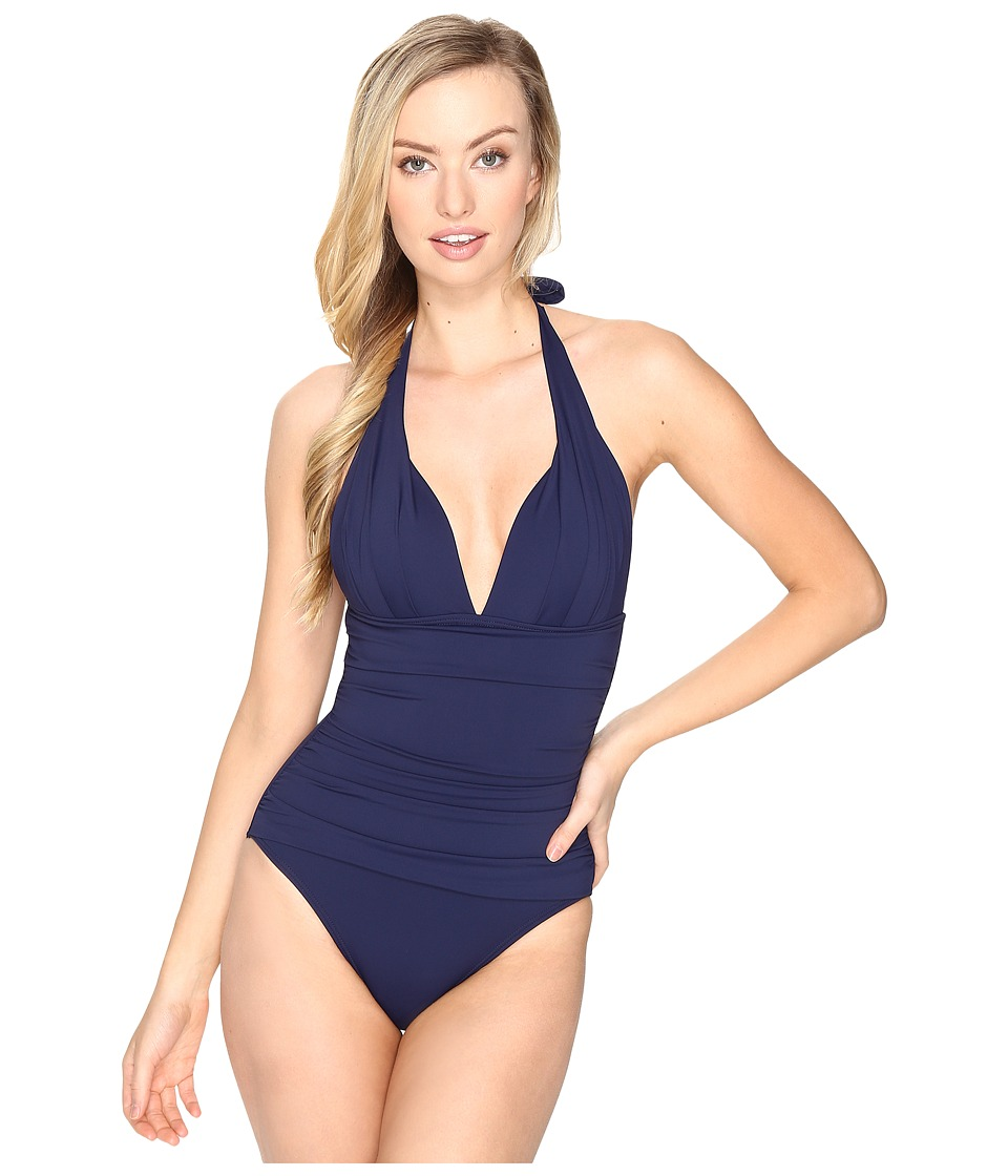 Tommy Bahama - Pearl Pleated Halter One-Piece (Mare Navy) Women's Swimsuits One Piece