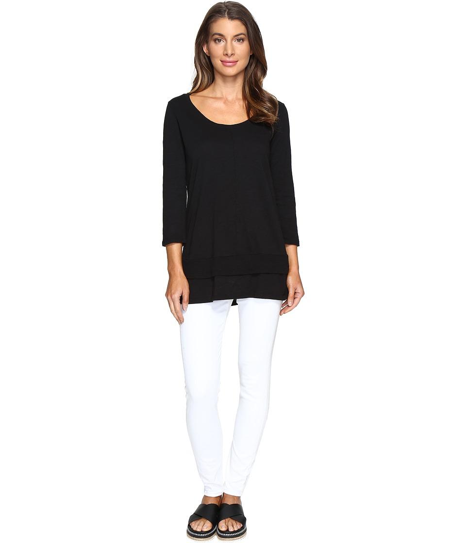 Mod-o-doc - Slub Jersey 3/4 Sleeve Tunic with Double Layer Hem (Black) Women's Clothing