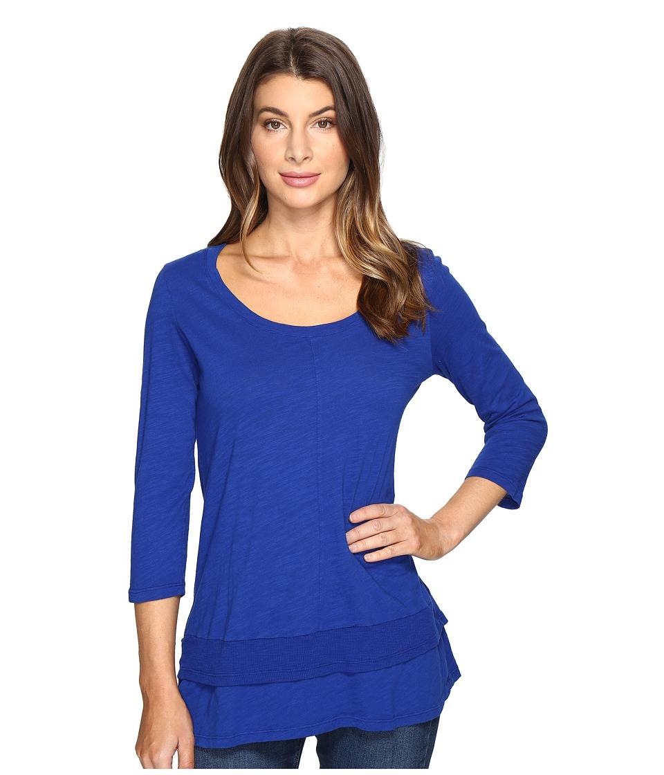 Mod-o-doc - Slub Jersey 3/4 Sleeve Tunic with Double Layer Hem (Nautical) Women's Clothing