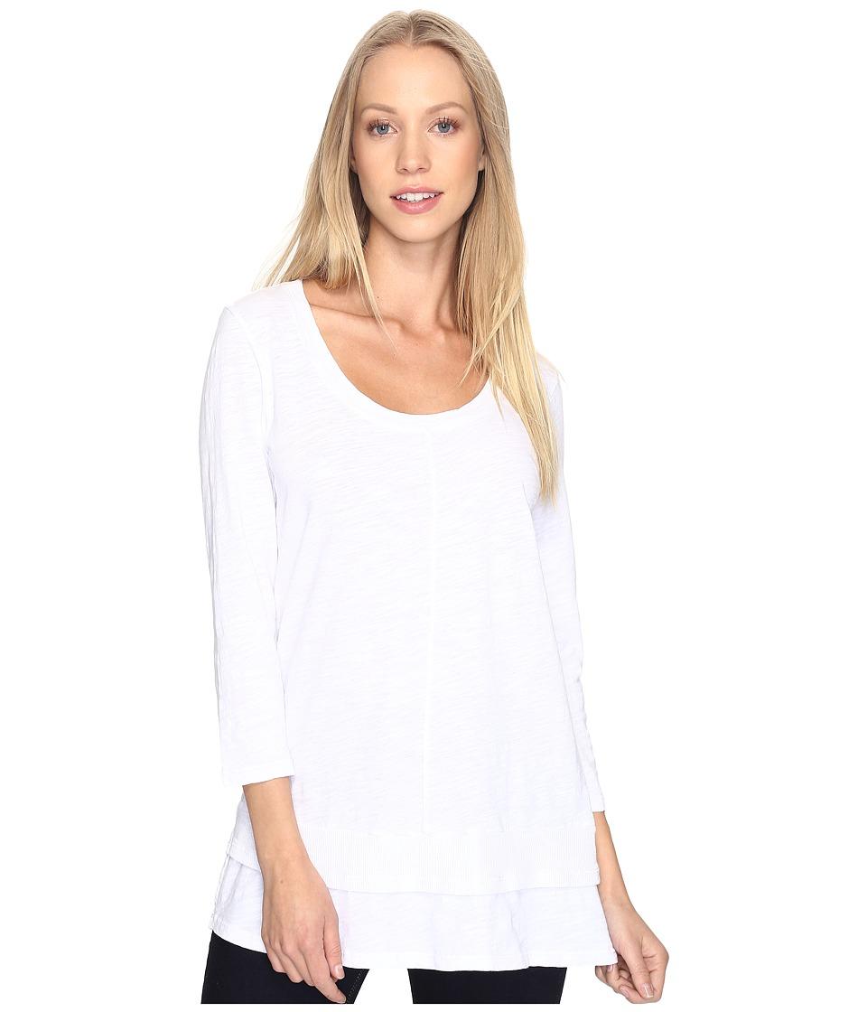 Mod-o-doc - Slub Jersey 3/4 Sleeve Tunic with Double Layer Hem (White) Women's Clothing