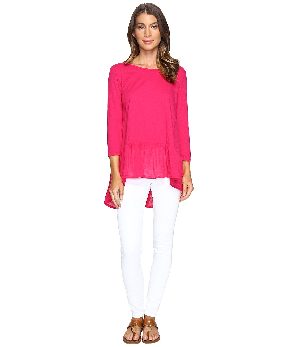 Mod-o-doc - Slub Jersey Drop Waist Ruffle Tunic (Berry Red) Women's Clothing
