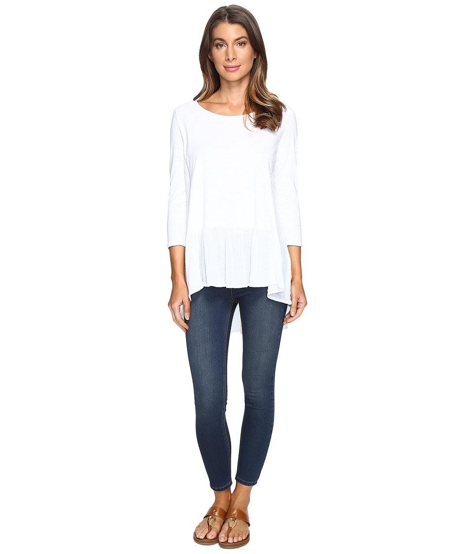 Mod-o-doc - Slub Jersey Drop Waist Ruffle Tunic (White) Women's Clothing