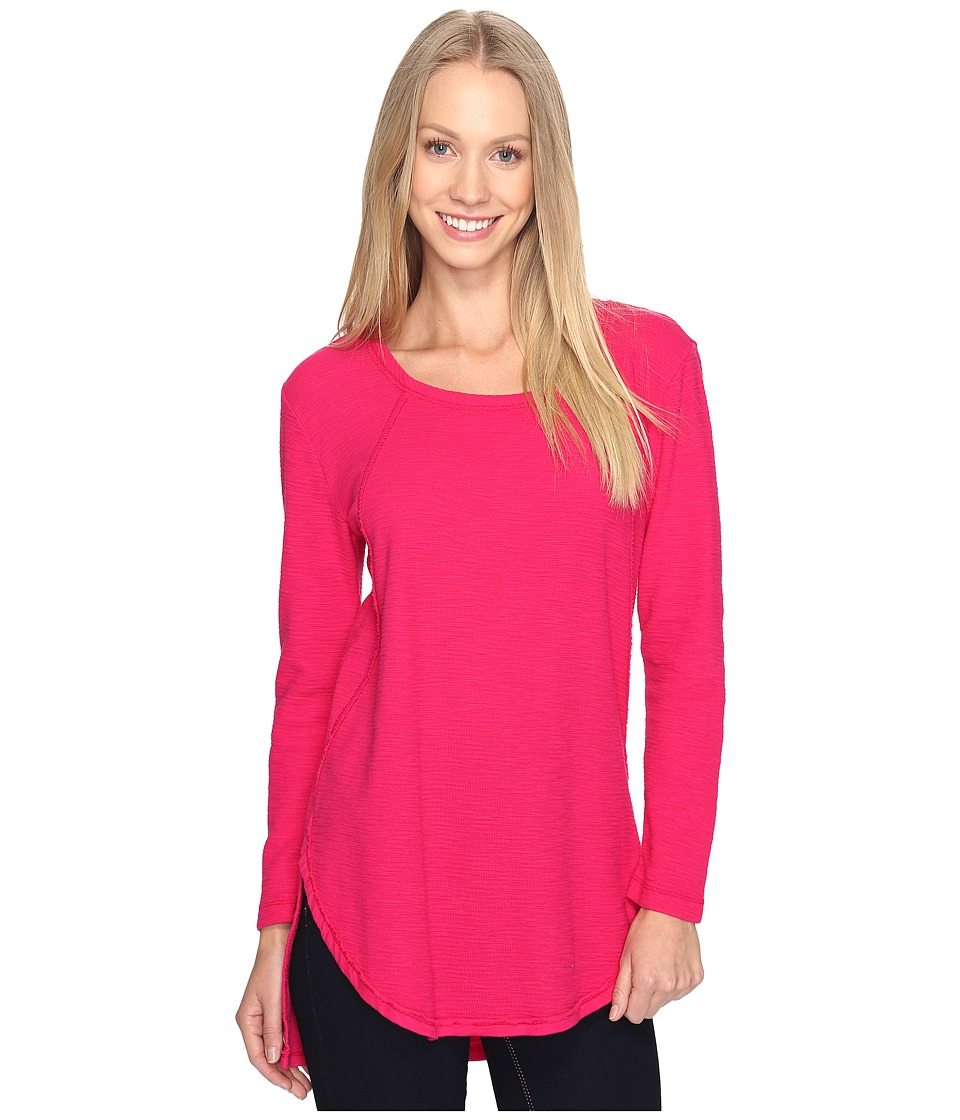 Mod-o-doc - Textured Slub Stripe Raw Edge Seamed Tunic (Berry Red) Women's Long Sleeve Pullover