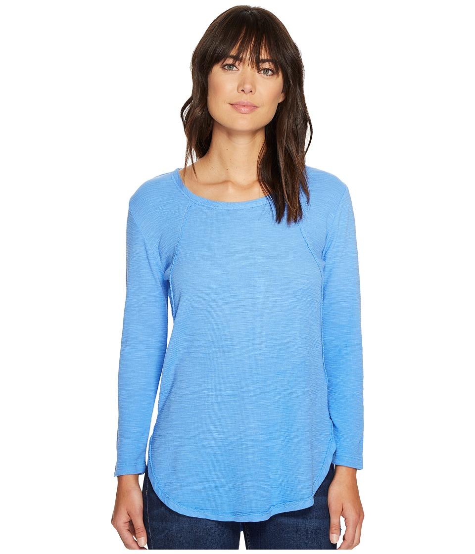 Mod-o-doc - Textured Slub Stripe Raw Edge Seamed Tunic (Peri) Women's Long Sleeve Pullover