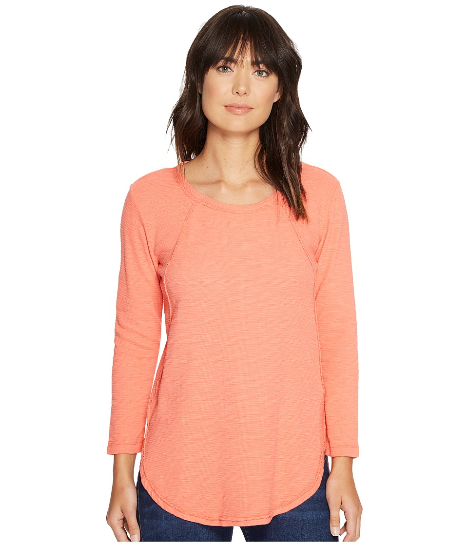 Mod-o-doc - Textured Slub Stripe Raw Edge Seamed Tunic (Tigerlily) Women's Long Sleeve Pullover