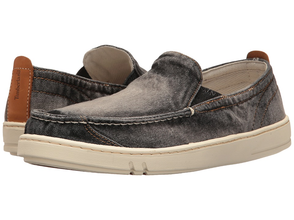 Timberland - Hookset Handcrafted Fabric Slip-On (Black Denim) Men's Shoes