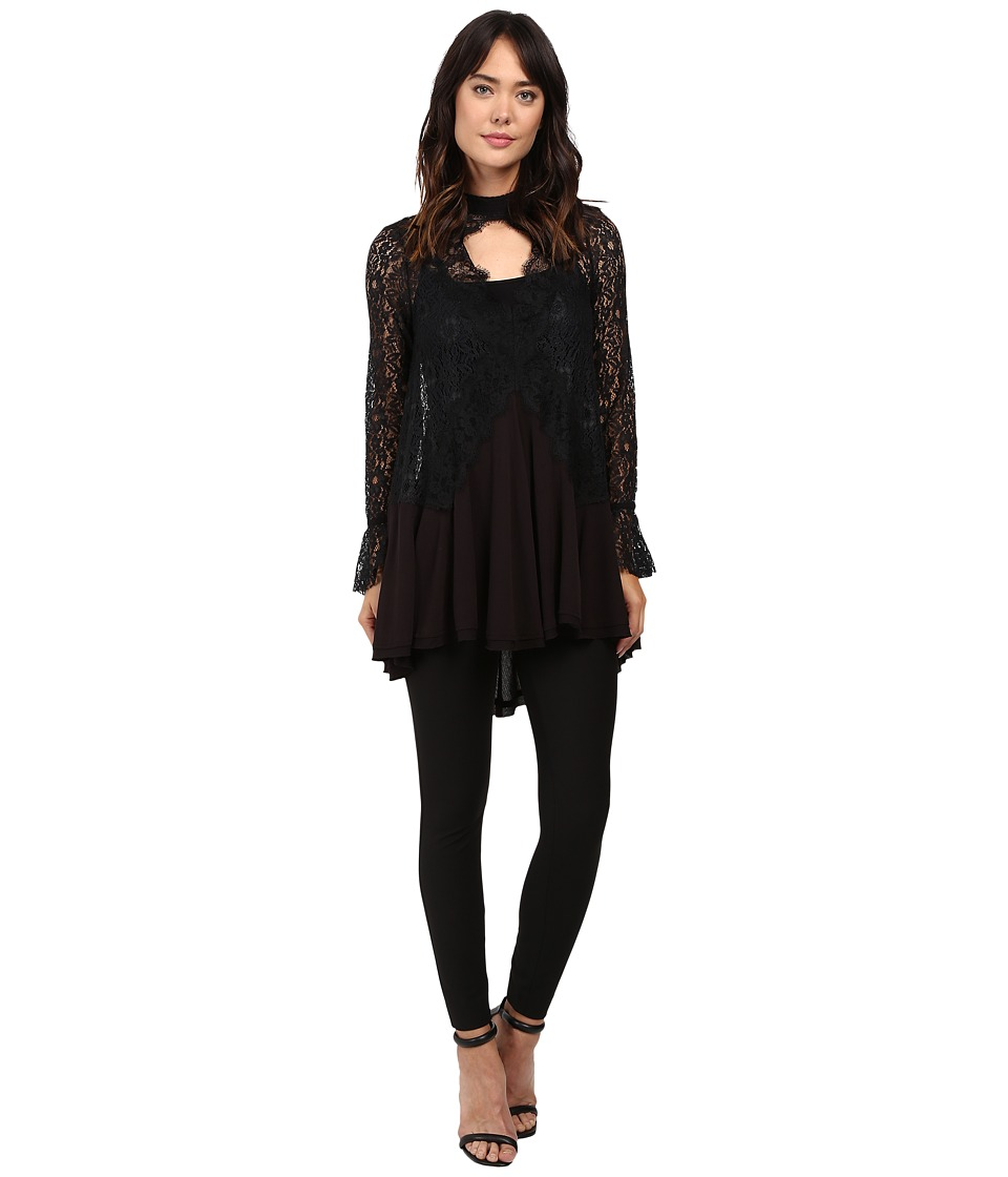 Free People - Tell Tale Lace Tunic (Black) Women's Blouse