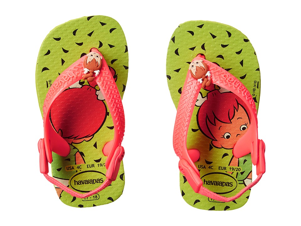 Havaianas Kids - Flintstones Flip Flops (Toddler) (Yellow Led/Black) Girls Shoes