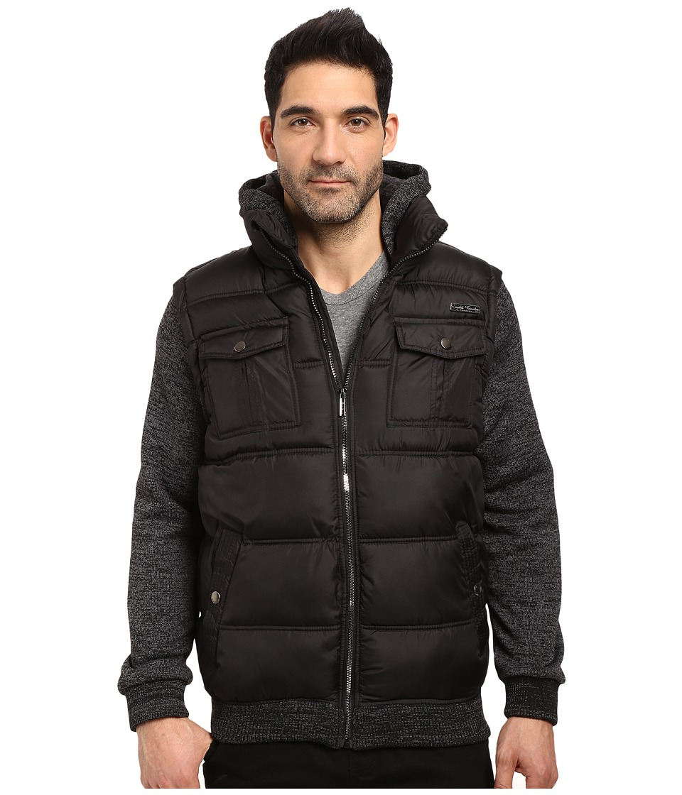 English Laundry - Quilted Bombed w/ Fleece Hood Sleeves (Black) Men's Coat