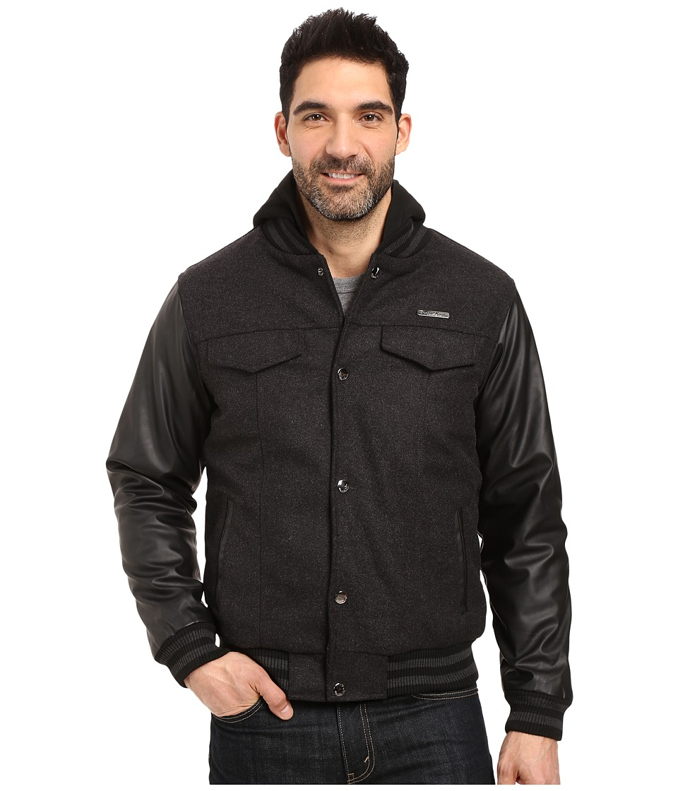 English Laundry - Wool Jacket w/ PU Sleeves (Charcoal) Men's Coat