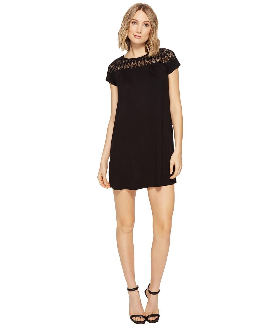 Brigitte Bailey - Lova Short Sleeve Dress with Lace Detail (Black) Women's Dress