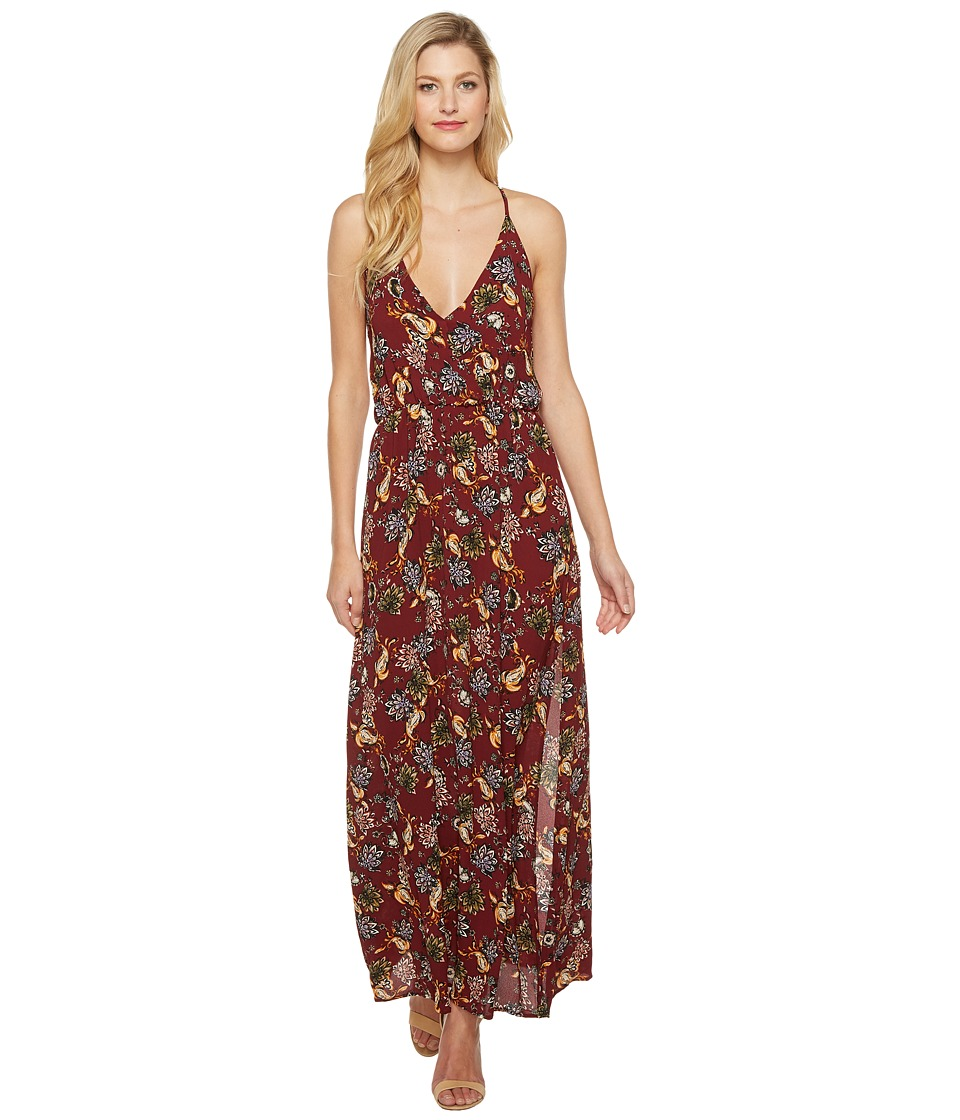 Brigitte Bailey - Amina Spaghetti Strap Floral Maxi Dress (Burgundy) Women's Dress