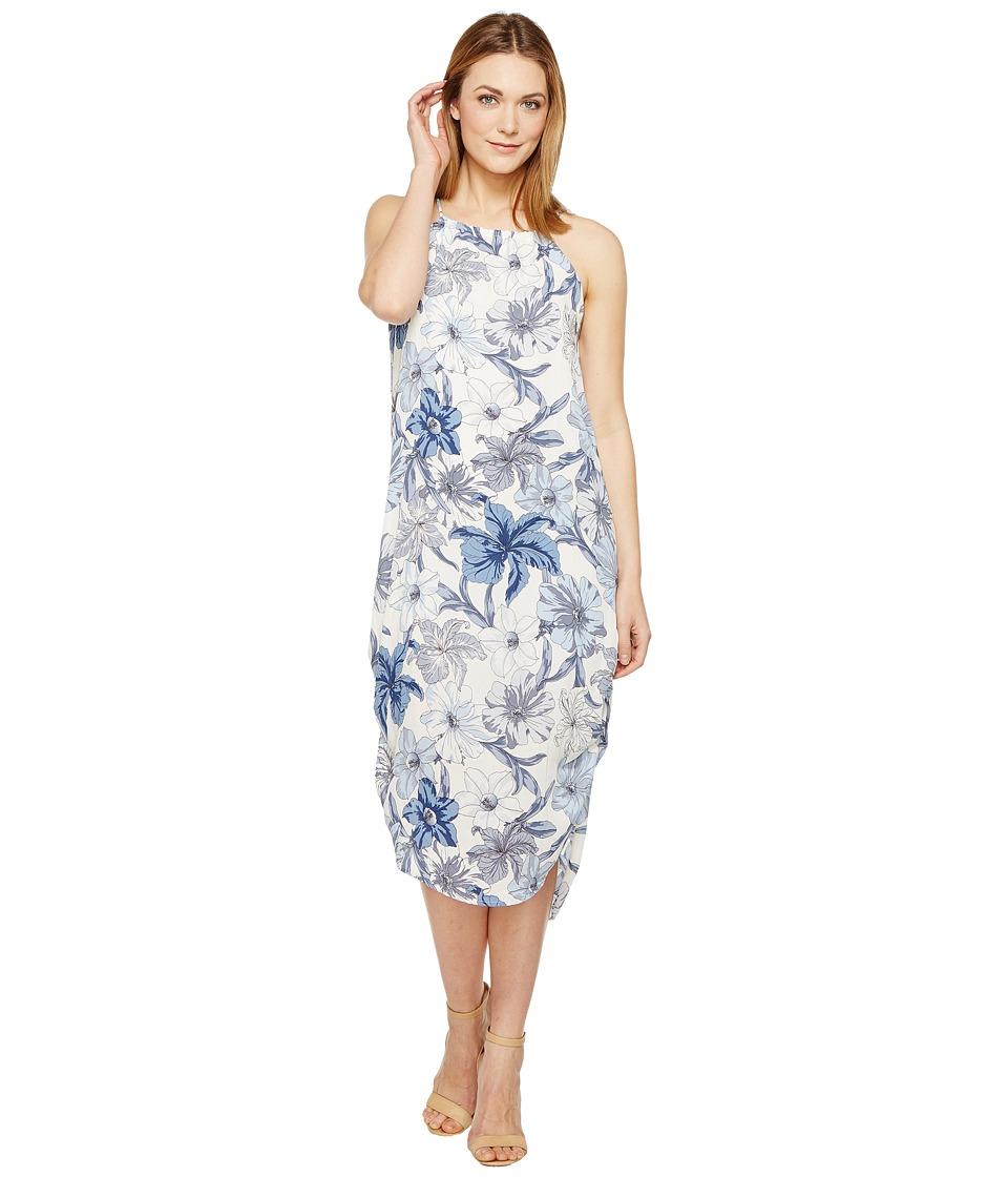 Brigitte Bailey - Leia High Neck Floral Dress (Ivory/Blue) Women's Dress