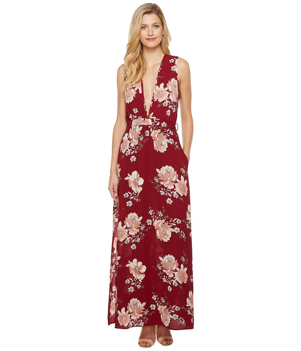 Brigitte Bailey - Mira Sleeveless Floral Maxi Dress (Burgundy) Women's Dress