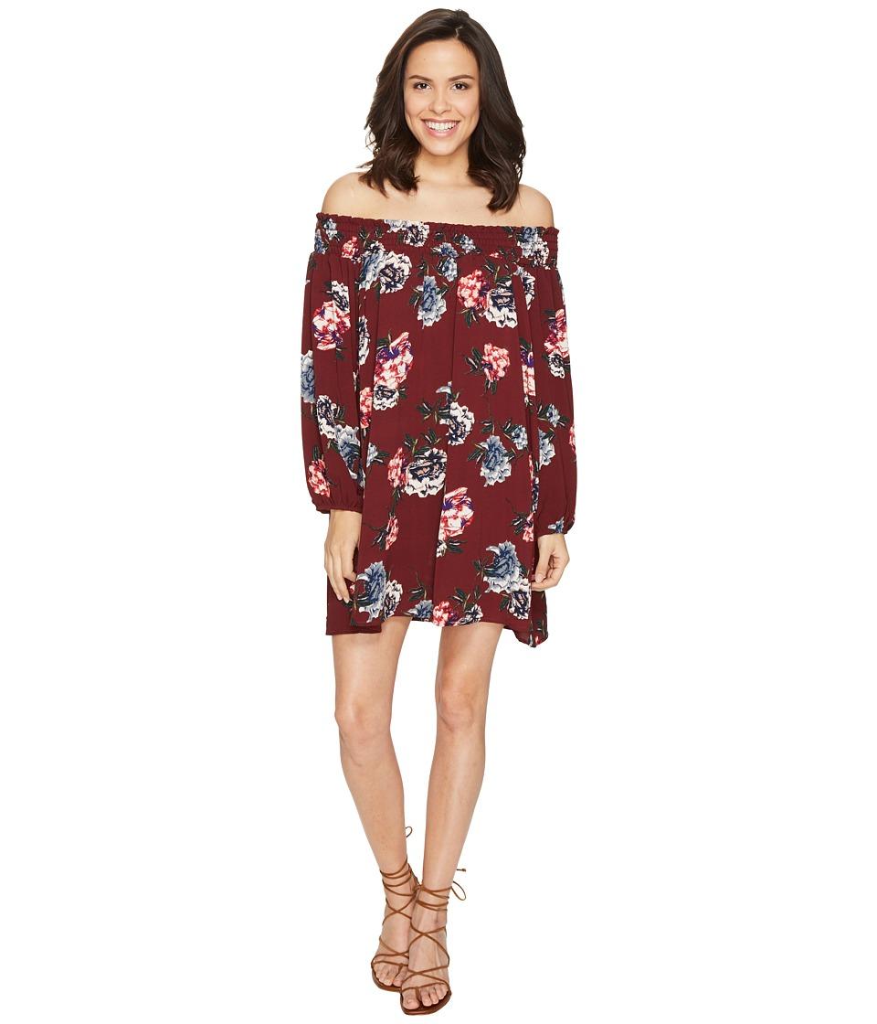 Brigitte Bailey Amila Off the Shoulder Floral Dress (Burgundy) Women