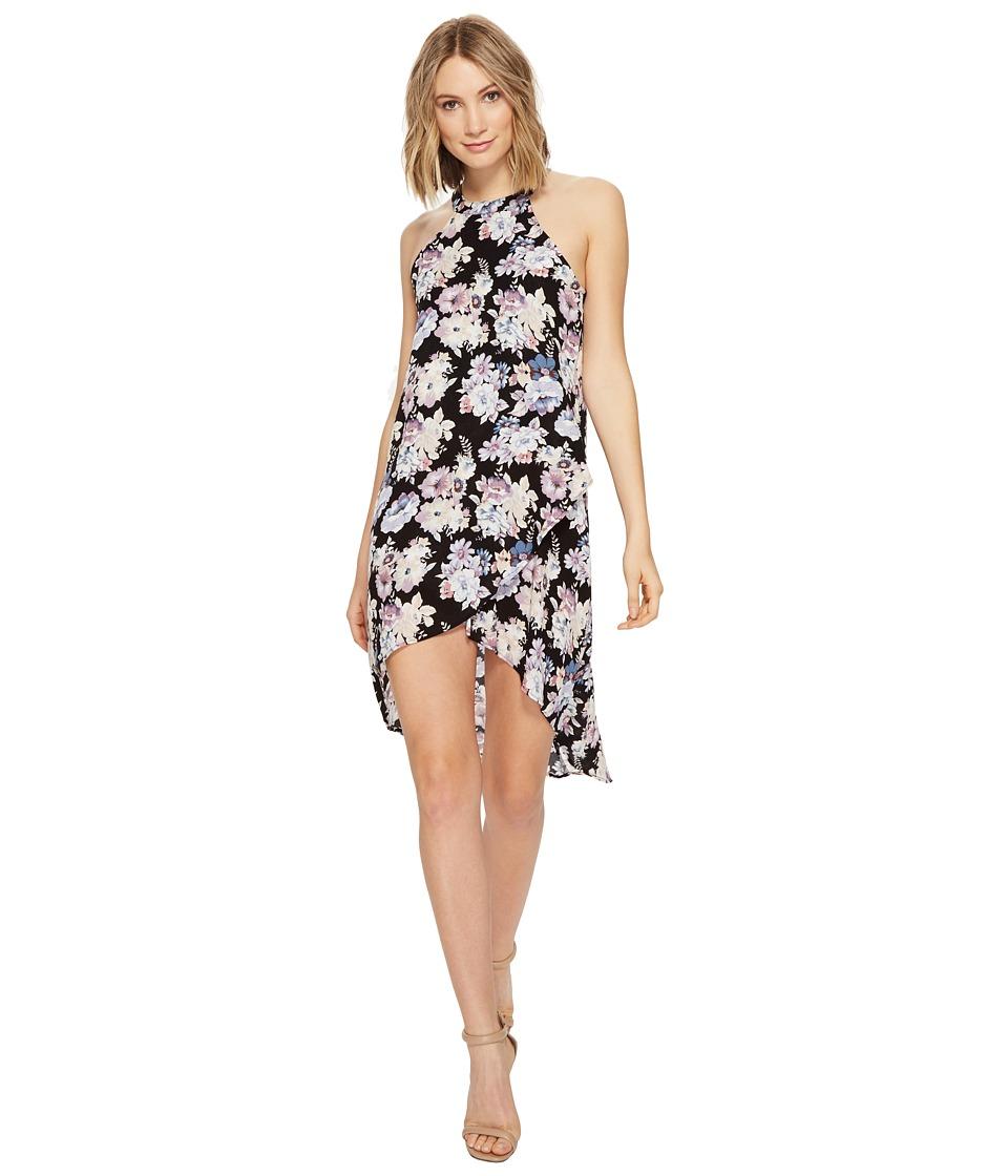Brigitte Bailey - Moa High Neck Floral Dress (Black/Purple Floral) Women's Dress